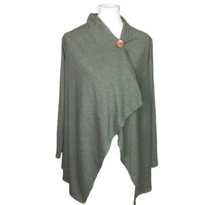 Bobeau green one button open front cardigan SZ M